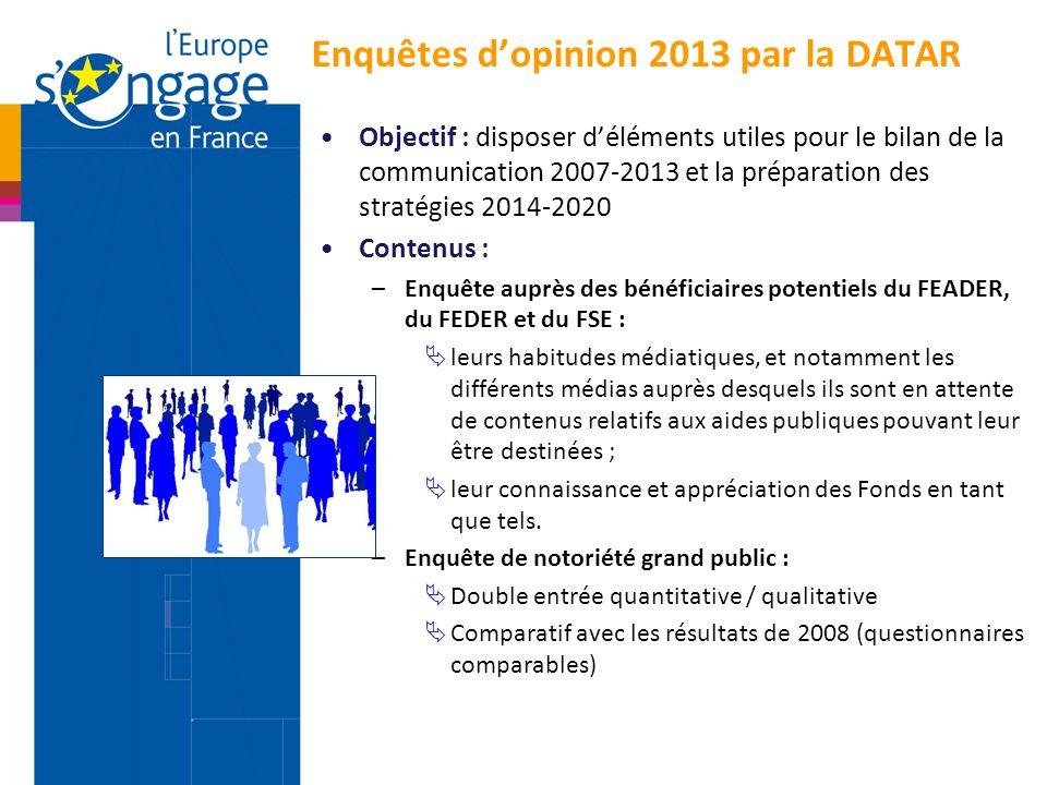Enquêtes d'opinion 2013 par la DATAR Objectif : disposer d'éléments utiles pour le bilan de la communication 2007-2013 et la préparation des stratégie