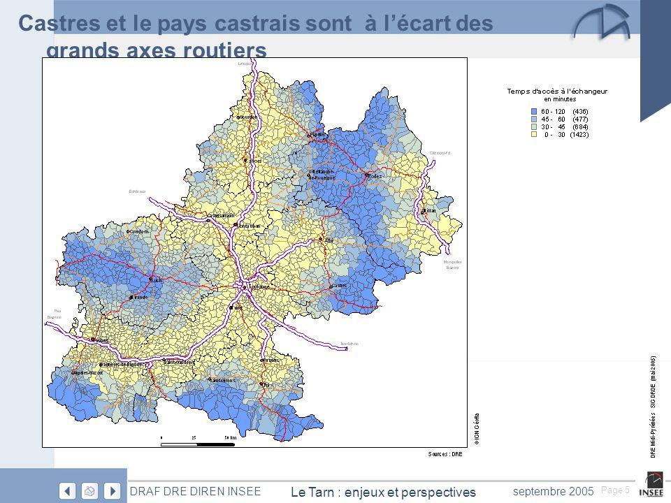 Page 5 Le Tarn : enjeux et perspectives DRAF DRE DIREN INSEEseptembre 2005 Castres et le pays castrais sont à l'écart des grands axes routiers