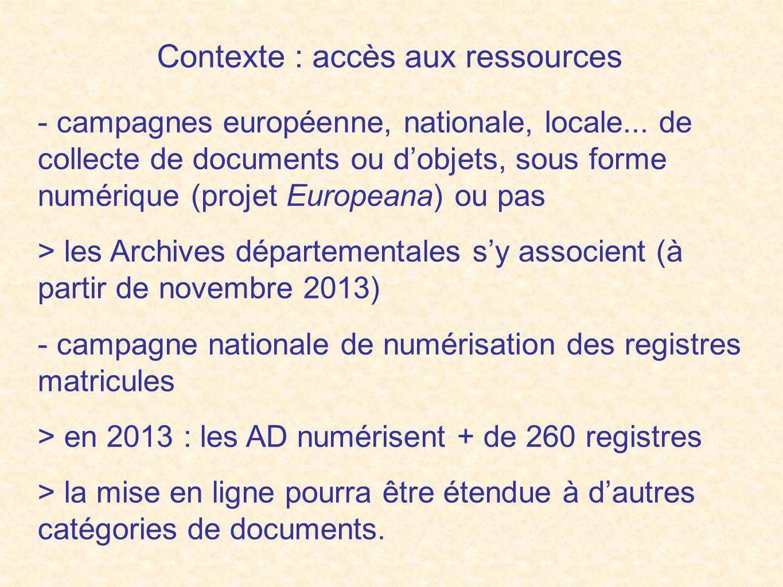 Contexte : accès aux ressources - campagnes européenne, nationale, locale...