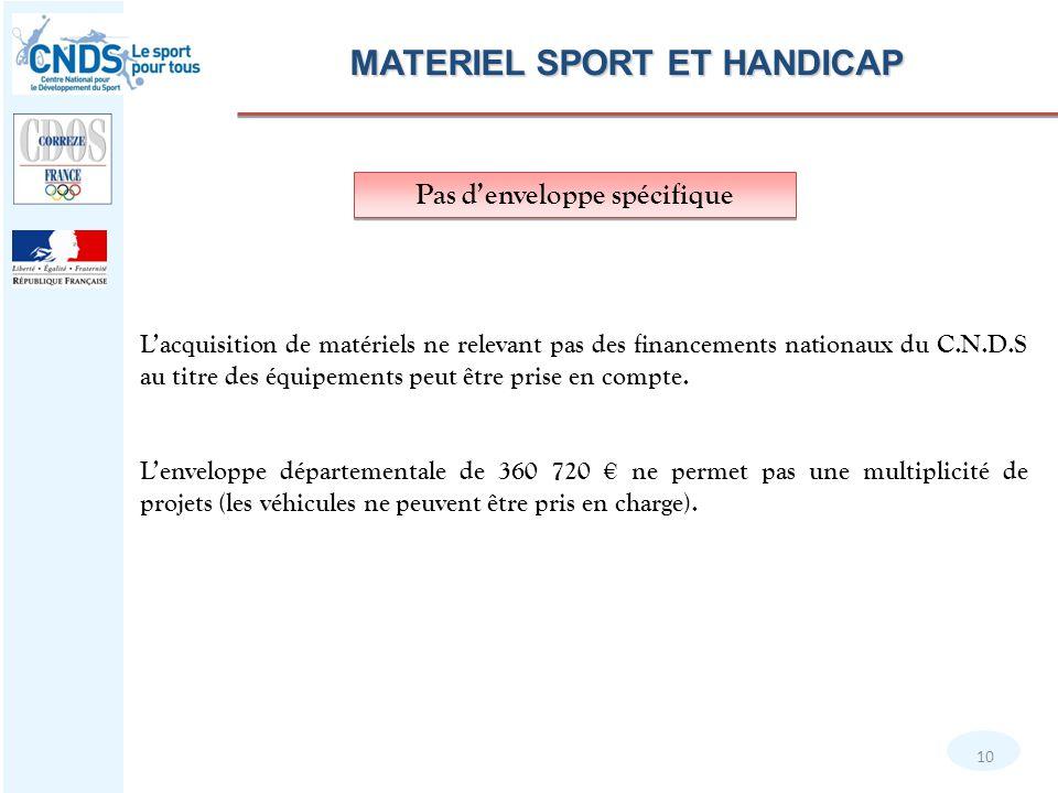 MATERIEL SPORT ET HANDICAP 10 L'acquisition de matériels ne relevant pas des financements nationaux du C.N.D.S au titre des équipements peut être prise en compte.