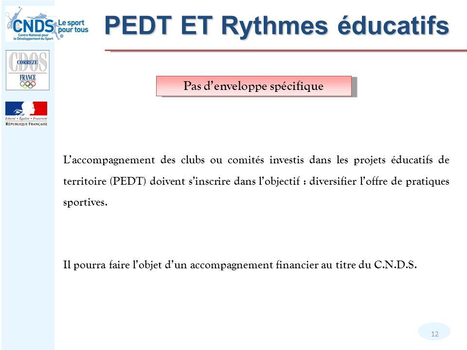12 Pas d'enveloppe spécifique L'accompagnement des clubs ou comités investis dans les projets éducatifs de territoire (PEDT) doivent s'inscrire dans l
