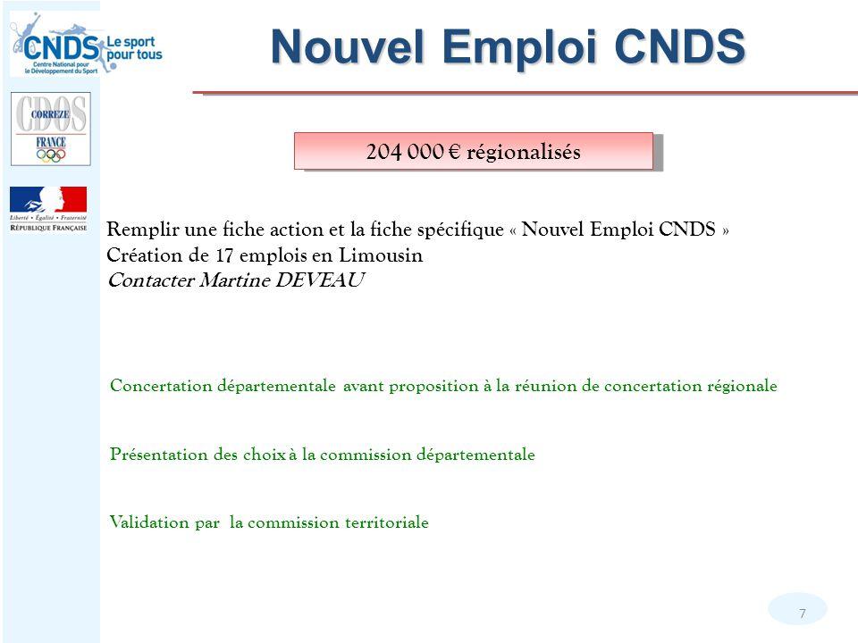 Nouvel Emploi CNDS 7 Remplir une fiche action et la fiche spécifique « Nouvel Emploi CNDS » Création de 17 emplois en Limousin Contacter Martine DEVEA