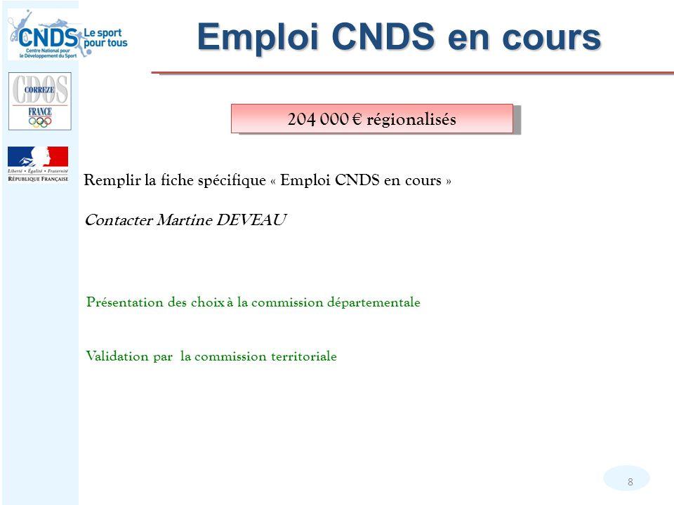 Emploi CNDS en cours 8 Remplir la fiche spécifique « Emploi CNDS en cours » Contacter Martine DEVEAU 204 000 € régionalisés Présentation des choix à l