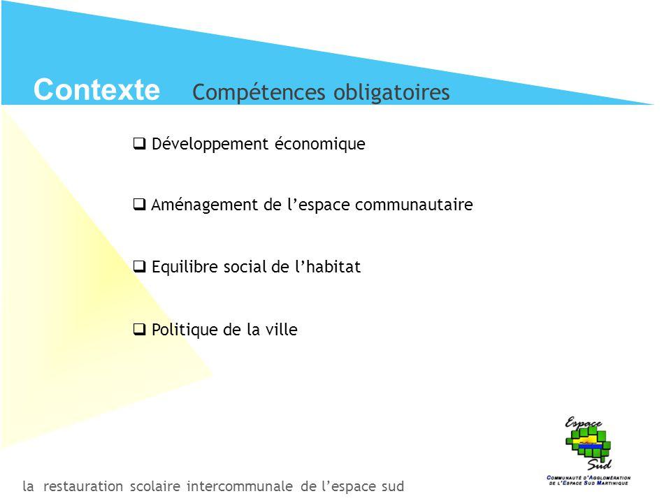 la restauration scolaire intercommunale de l'espace sud Contexte Compétences obligatoires  Développement économique  Aménagement de l'espace communa