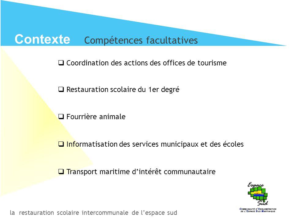 la restauration scolaire intercommunale de l'espace sud Contexte Compétences facultatives  Coordination des actions des offices de tourisme  Restaur