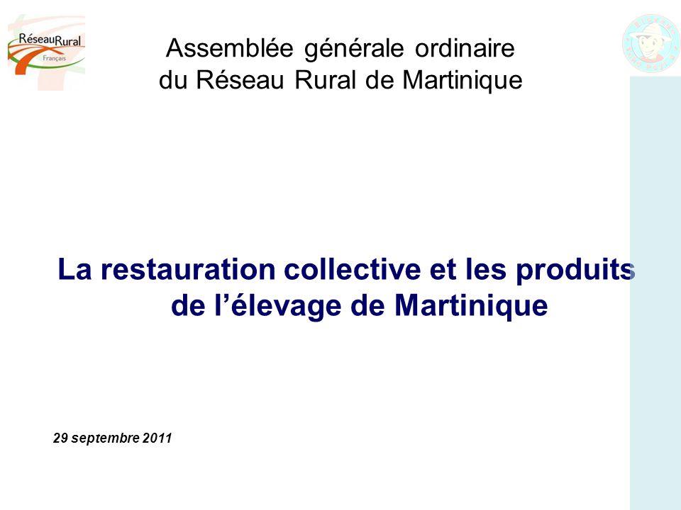 Assemblée générale ordinaire du Réseau Rural de Martinique La restauration collective et les produits de l'élevage de Martinique 29 septembre 2011