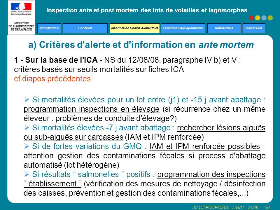 Inspection ante et post mortem des lots de volailles et lagomorphes Introduction Contexte Information Chaine Alimentaire Évaluation des opérateurs Référentiels Conclusion 30 CDR INFOMA - DGAL- 2009 30 1 - Sur la base de l ICA - NS du 12/08/08, paragraphe IV b) et V : critères basés sur seuils mortalités sur fiches ICA cf diapos précédentes a) Critères d alerte et d information en ante mortem  Si mortalités élevées pour un lot entre (j1) et -15 j avant abattage : programmation inspections en élevage (si récurrence chez un même éleveur : problèmes de conduite d élevage )  Si mortalités élevées -7 j avant abattage : rechercher lésions aiguës ou sub-aiguës sur carcasses (IAM et IPM renforcée)  Si de fortes variations du GMQ : IAM et IPM renforcée possibles - attention gestion des contaminations fécales si process d abattage automatisé (lot hétérogène)  Si résultats salmonelles positifs : programmation des inspections établissement (vérification des mesures de nettoyage / désinfection des caisses, prévention et gestion des contaminations fécales,...)
