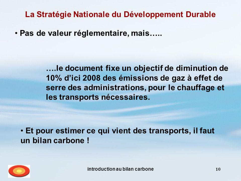 introduction au bilan carbone10 La Stratégie Nationale du Développement Durable Pas de valeur réglementaire, mais….. Et pour estimer ce qui vient des