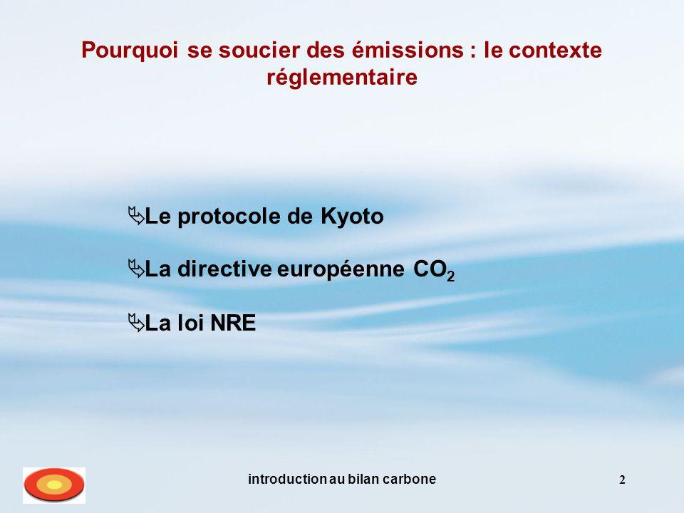 introduction au bilan carbone2 Pourquoi se soucier des émissions : le contexte réglementaire  La directive européenne CO 2  La loi NRE  Le protocole de Kyoto