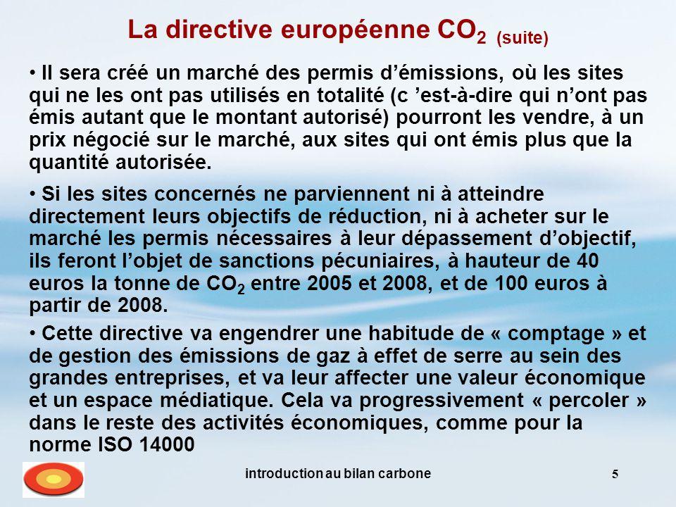 introduction au bilan carbone5 Si les sites concernés ne parviennent ni à atteindre directement leurs objectifs de réduction, ni à acheter sur le marché les permis nécessaires à leur dépassement d'objectif, ils feront l'objet de sanctions pécuniaires, à hauteur de 40 euros la tonne de CO 2 entre 2005 et 2008, et de 100 euros à partir de 2008.