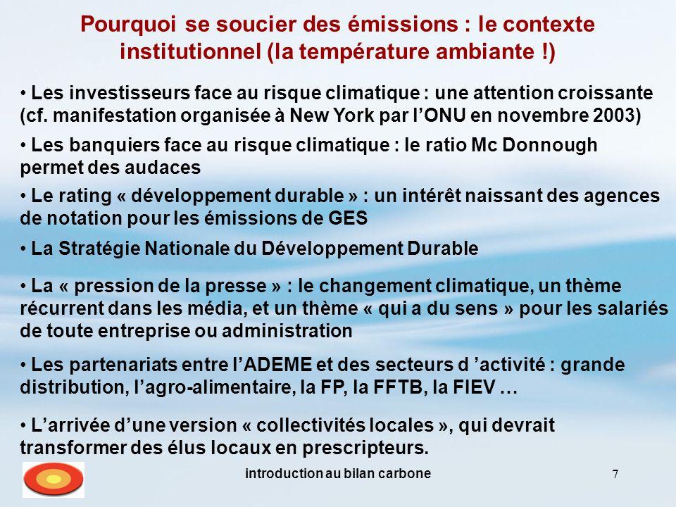 introduction au bilan carbone7 Pourquoi se soucier des émissions : le contexte institutionnel (la température ambiante !) Le rating « développement durable » : un intérêt naissant des agences de notation pour les émissions de GES Les investisseurs face au risque climatique : une attention croissante (cf.