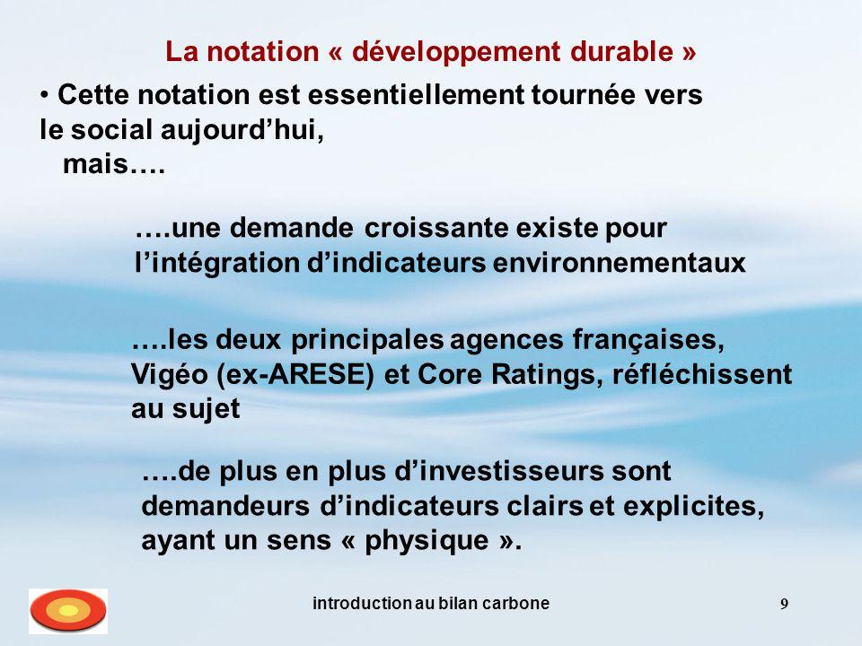 introduction au bilan carbone9 La notation « développement durable » Cette notation est essentiellement tournée vers le social aujourd'hui, mais…. ….l