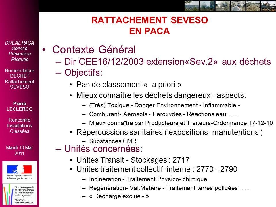 DREAL PACA Service Prévention Risques Nomenclature DECHET Rattachement SEVESO Pierre LECLERCQ Rencontre Installations Classées Mardi 10 Mai 2011 RATTA