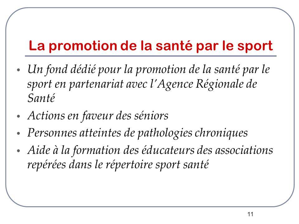 11 La promotion de la santé par le sport Un fond dédié pour la promotion de la santé par le sport en partenariat avec l'Agence Régionale de Santé Actions en faveur des séniors Personnes atteintes de pathologies chroniques Aide à la formation des éducateurs des associations repérées dans le répertoire sport santé