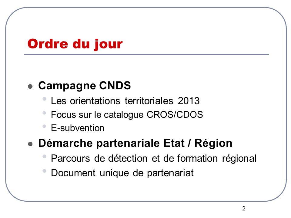2 Ordre du jour Campagne CNDS Les orientations territoriales 2013 Focus sur le catalogue CROS/CDOS E-subvention Démarche partenariale Etat / Région Parcours de détection et de formation régional Document unique de partenariat