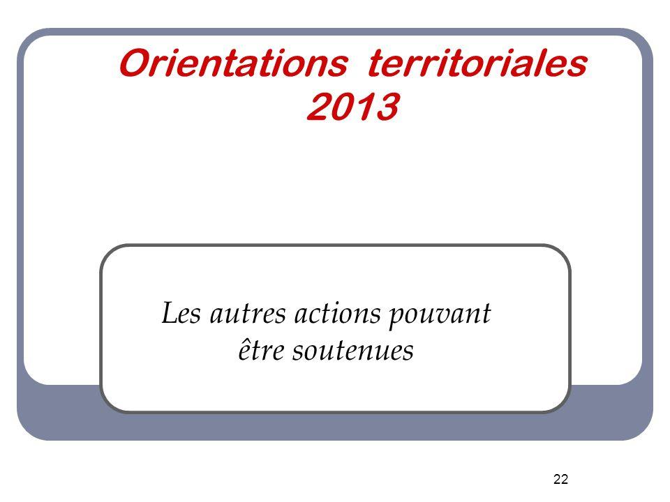 22 Orientations territoriales 2013 Les autres actions pouvant être soutenues