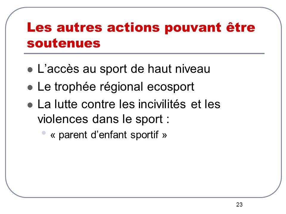 23 Les autres actions pouvant être soutenues L'accès au sport de haut niveau Le trophée régional ecosport La lutte contre les incivilités et les violences dans le sport : « parent d'enfant sportif »