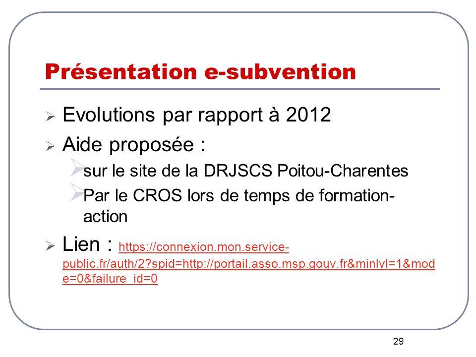 29 Présentation e-subvention  Evolutions par rapport à 2012  Aide proposée :  sur le site de la DRJSCS Poitou-Charentes  Par le CROS lors de temps de formation- action  Lien : https://connexion.mon.service- public.fr/auth/2 spid=http://portail.asso.msp.gouv.fr&minlvl=1&mod e=0&failure_id=0 https://connexion.mon.service- public.fr/auth/2 spid=http://portail.asso.msp.gouv.fr&minlvl=1&mod e=0&failure_id=0