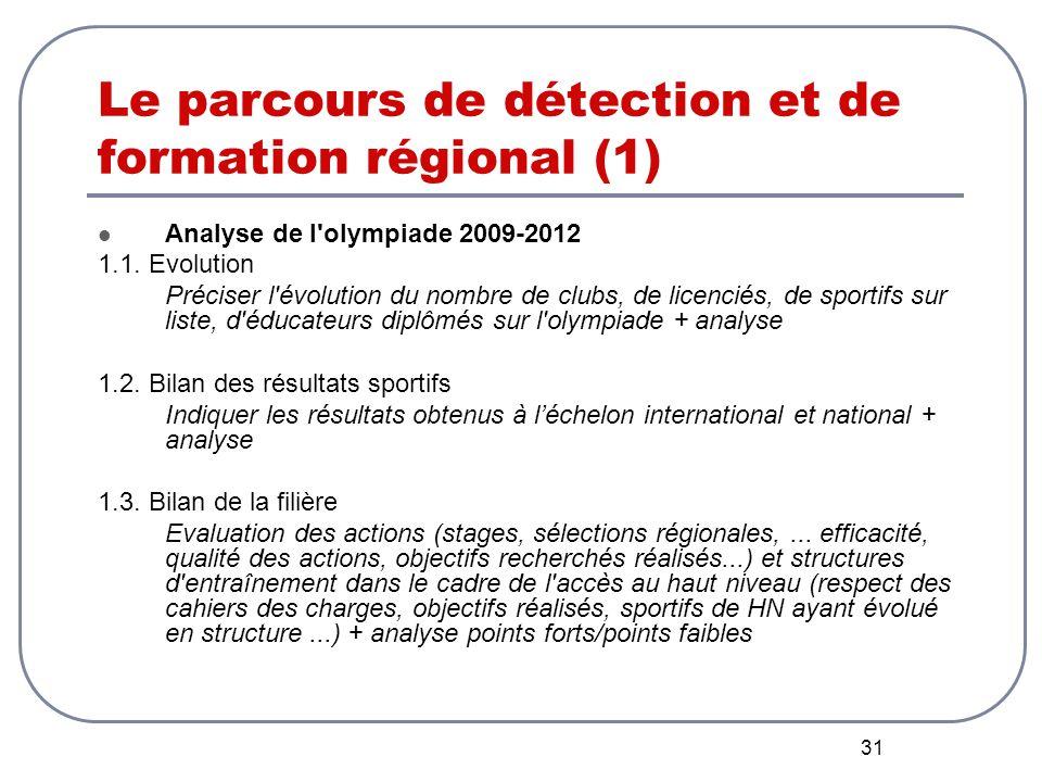 31 Le parcours de détection et de formation régional (1) Analyse de l olympiade 2009-2012 1.1.