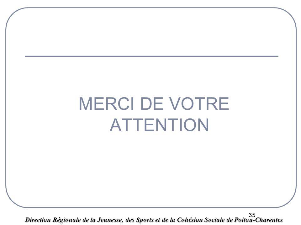 35 MERCI DE VOTRE ATTENTION Direction Régionale de la Jeunesse, des Sports et de la Cohésion Sociale de Poitou-Charentes