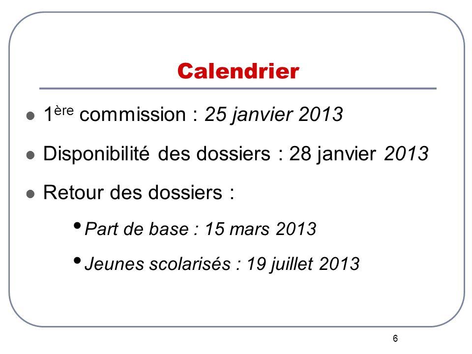 6 Calendrier 1 ère commission : 25 janvier 2013 Disponibilité des dossiers : 28 janvier 2013 Retour des dossiers : Part de base : 15 mars 2013 Jeunes scolarisés : 19 juillet 2013