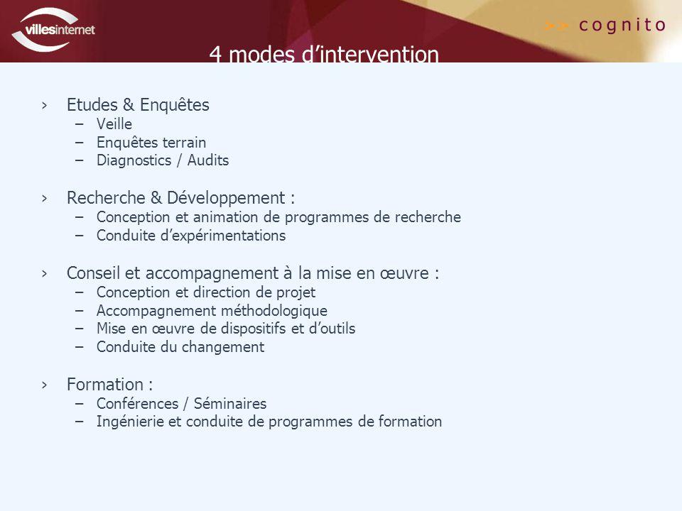 4 modes d'intervention ›Etudes & Enquêtes –Veille –Enquêtes terrain –Diagnostics / Audits ›Recherche & Développement : –Conception et animation de programmes de recherche –Conduite d'expérimentations ›Conseil et accompagnement à la mise en œuvre : –Conception et direction de projet –Accompagnement méthodologique –Mise en œuvre de dispositifs et d'outils –Conduite du changement ›Formation : –Conférences / Séminaires –Ingénierie et conduite de programmes de formation