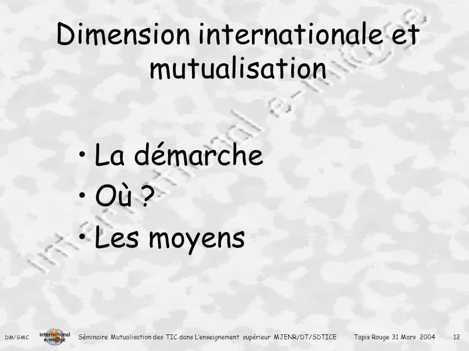 DM/GMC Séminaire Mutualisation des TIC dans L'enseignement supérieur MJENR/DT/SDTICE Tapis Rouge 31 Mars 2004 12 Dimension internationale et mutualisation La démarche Où .
