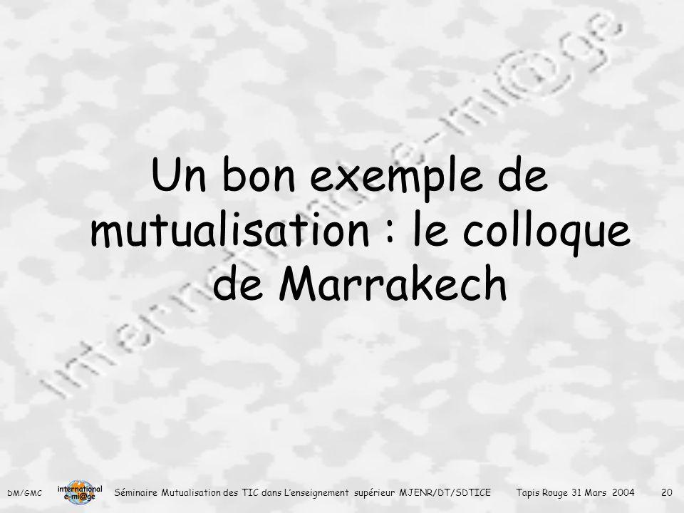 DM/GMC Séminaire Mutualisation des TIC dans L'enseignement supérieur MJENR/DT/SDTICE Tapis Rouge 31 Mars 2004 20 Un bon exemple de mutualisation : le colloque de Marrakech