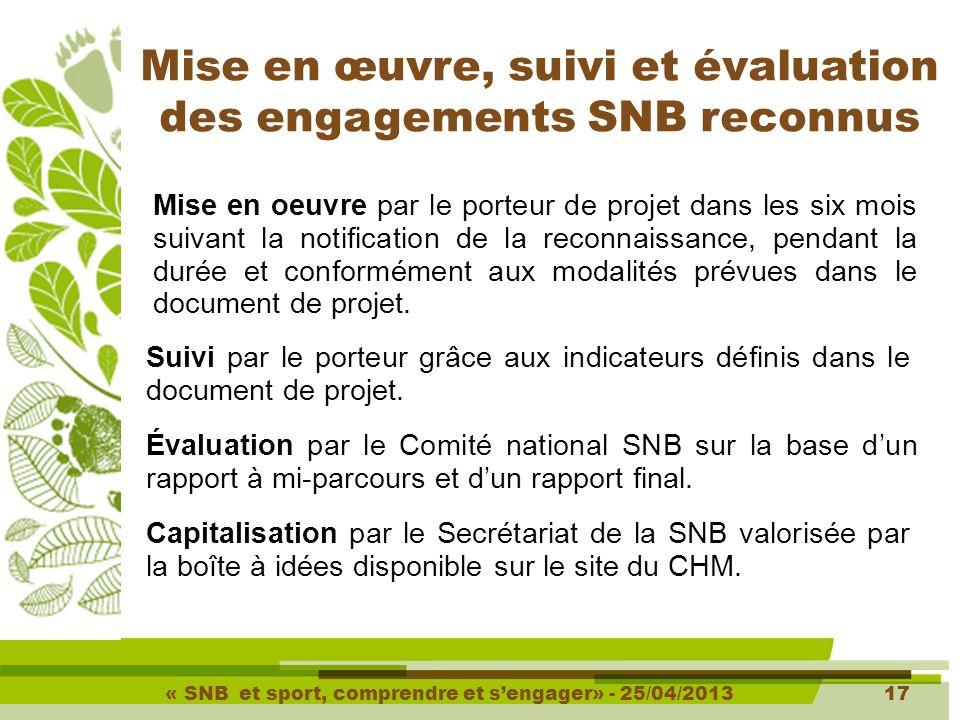 « SNB et sport, comprendre et s'engager» - 25/04/201317 Mise en œuvre, suivi et évaluation des engagements SNB reconnus Mise en oeuvre par le porteur de projet dans les six mois suivant la notification de la reconnaissance, pendant la durée et conformément aux modalités prévues dans le document de projet.