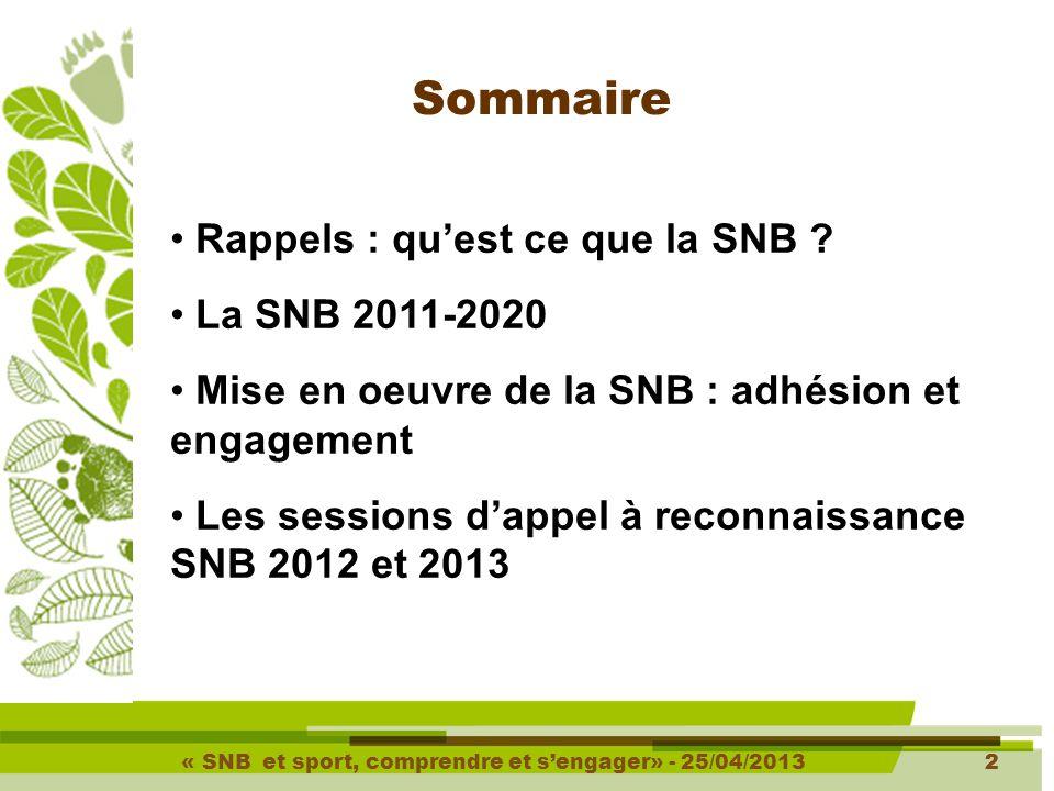 « SNB et sport, comprendre et s'engager» - 25/04/20133 3 Qu'est ce que la SNB .