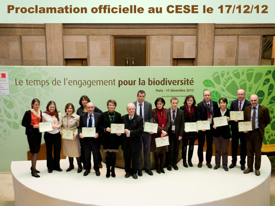 Proclamation officielle au CESE le 17/12/12