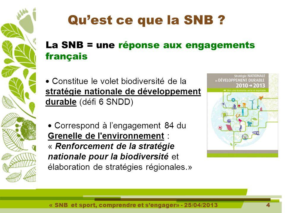 « SNB et sport, comprendre et s'engager» - 25/04/20134 4 Qu'est ce que la SNB .