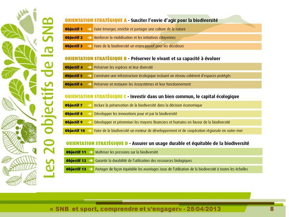 « SNB et sport, comprendre et s'engager» - 25/04/201319 Résultats : 22 engagements reconnus