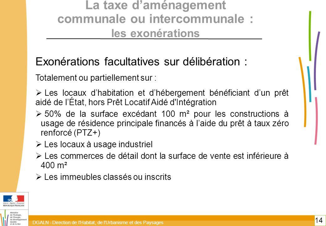DGALN - Direction de l'Habitat, de l'Urbanisme et des Paysages 14 La taxe d'aménagement communale ou intercommunale : les exonérations Exonérations facultatives sur délibération : Totalement ou partiellement sur :  Les locaux d'habitation et d'hébergement bénéficiant d'un prêt aidé de l'État, hors Prêt Locatif Aidé d Intégration  50% de la surface excédant 100 m² pour les constructions à usage de résidence principale financés à l'aide du prêt à taux zéro renforcé (PTZ+)  Les locaux à usage industriel  Les commerces de détail dont la surface de vente est inférieure à 400 m²  Les immeubles classés ou inscrits