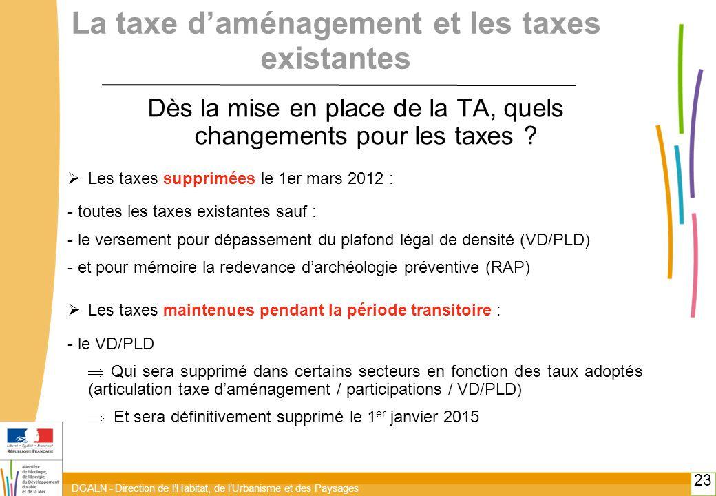 DGALN - Direction de l'Habitat, de l'Urbanisme et des Paysages 23 La taxe d'aménagement et les taxes existantes Dès la mise en place de la TA, quels changements pour les taxes .