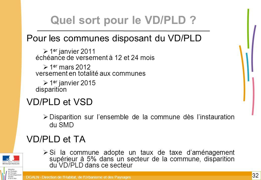 DGALN - Direction de l'Habitat, de l'Urbanisme et des Paysages 32 Quel sort pour le VD/PLD .