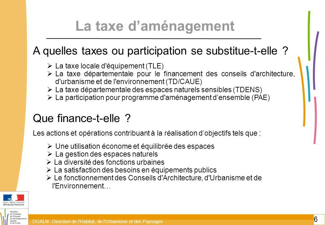DGALN - Direction de l'Habitat, de l'Urbanisme et des Paysages 6 6 La taxe d'aménagement A quelles taxes ou participation se substitue-t-elle .