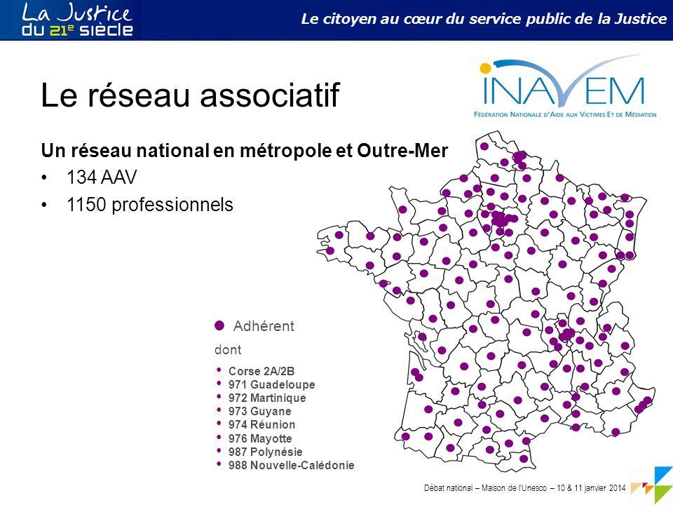 Débat national – Maison de l'Unesco – 10 & 11 janvier 2014 Le citoyen au cœur du service public de la Justice Le réseau associatif Un réseau national