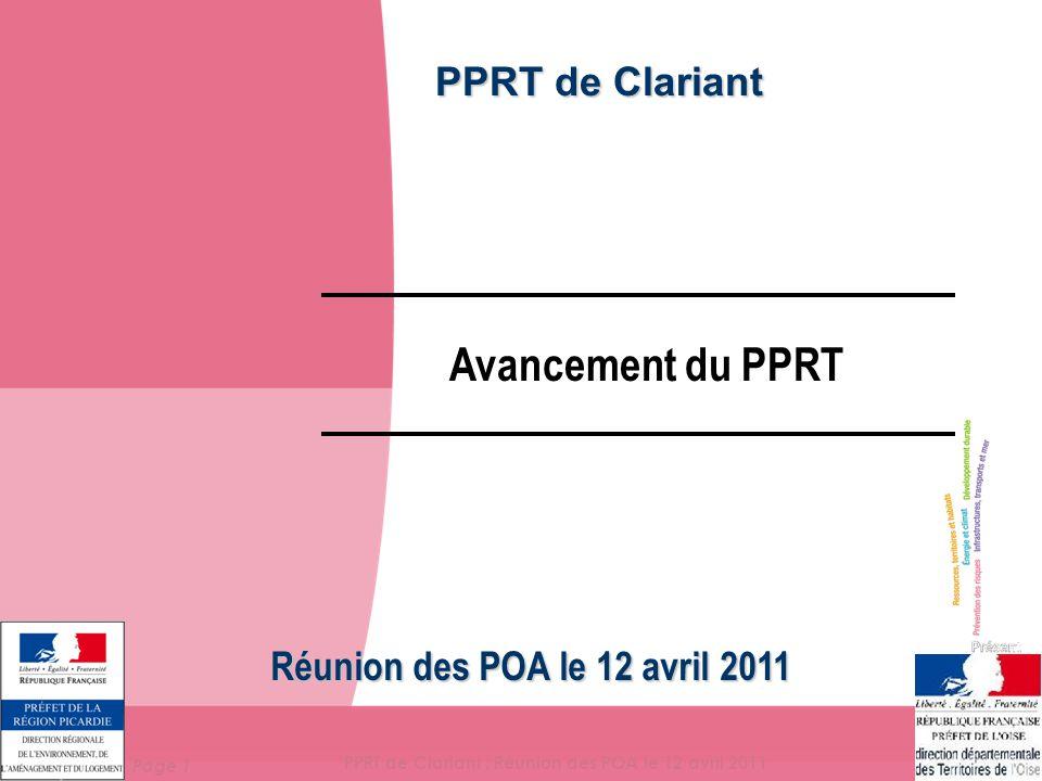 Page 2 PPRT de Clariant : Réunion des POA le 12 avril 2011 L 'arrêté préfectoral de prescription En application de l'article R 515-40 du Code de l'Environnement décret n°2005-1130 du 7 sept 2005 : En application de l'article R 515-40 du Code de l'Environnement (Ex article 2.−I.