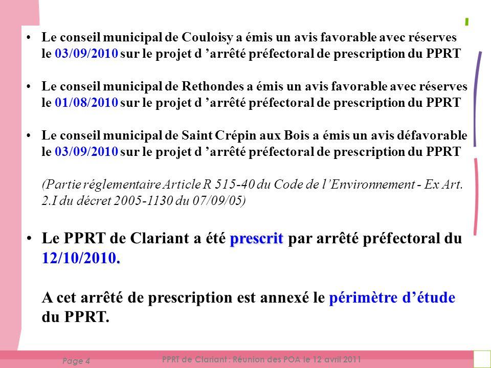 Page 5 PPRT de Clariant : Réunion des POA le 12 avril 2011 Périmètre d 'étude du PPRT de Clariant