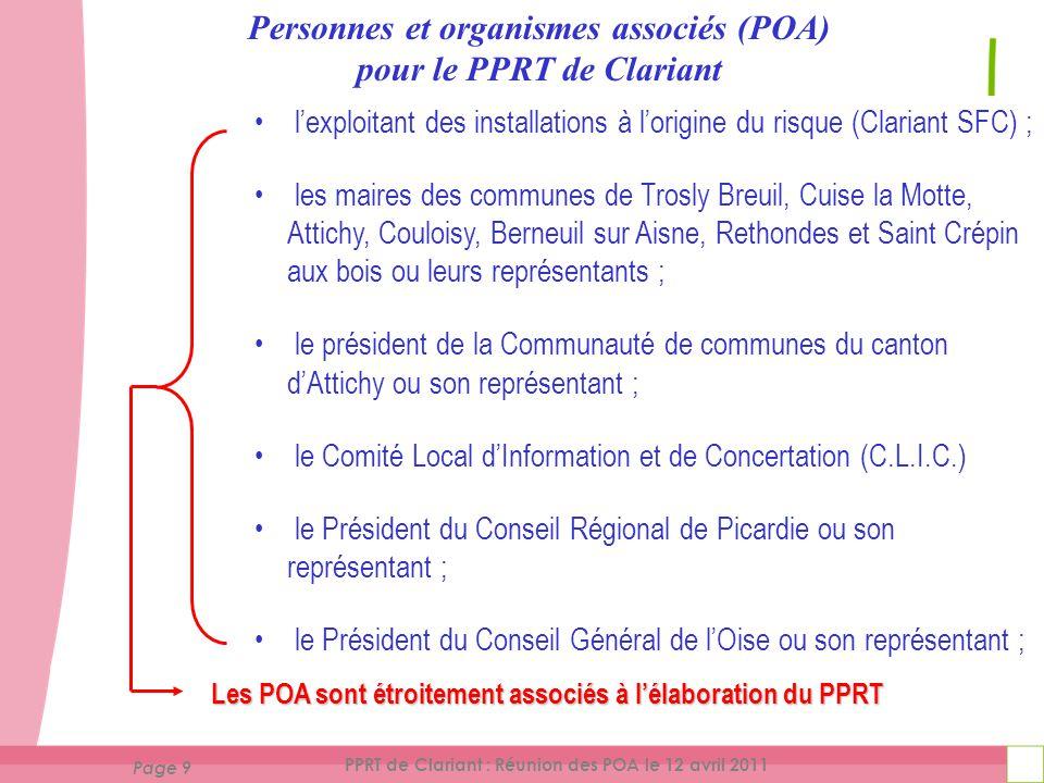 Page 10 PPRT de Clariant : Réunion des POA le 12 avril 2011 projetdePPRTsoumis aux personnes et organismes associés (POA) avant sa mise à l 'enquête publique Le projet de PPRT est soumis aux personnes et organismes associés (POA) avant sa mise à l 'enquête publique.