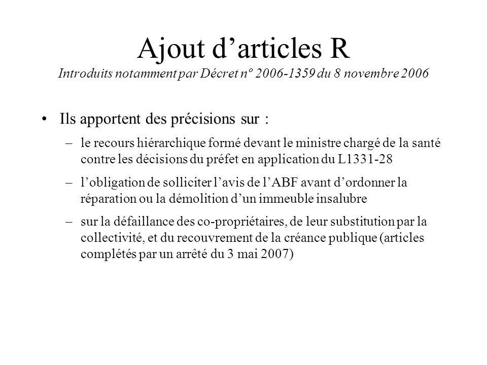 Ajout d'articles R Introduits notamment par Décret nº 2006-1359 du 8 novembre 2006 Ils apportent des précisions sur : –le recours hiérarchique formé d