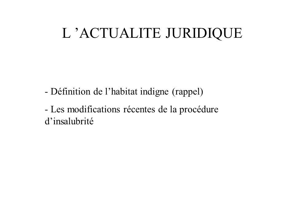 - Définition de l'habitat indigne (rappel) - Les modifications récentes de la procédure d'insalubrité L 'ACTUALITE JURIDIQUE