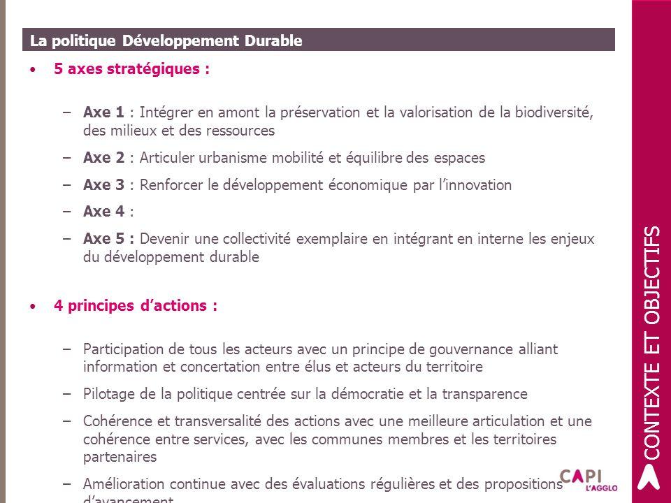 La politique Développement Durable 5 axes stratégiques : –Axe 1 : Intégrer en amont la préservation et la valorisation de la biodiversité, des milieux et des ressources –Axe 2 : Articuler urbanisme mobilité et équilibre des espaces –Axe 3 : Renforcer le développement économique par l'innovation –Axe 4 : –Axe 5 : Devenir une collectivité exemplaire en intégrant en interne les enjeux du développement durable 4 principes d'actions : –Participation de tous les acteurs avec un principe de gouvernance alliant information et concertation entre élus et acteurs du territoire –Pilotage de la politique centrée sur la démocratie et la transparence –Cohérence et transversalité des actions avec une meilleure articulation et une cohérence entre services, avec les communes membres et les territoires partenaires –Amélioration continue avec des évaluations régulières et des propositions d'avancement CONTEXTE ET OBJECTIFS