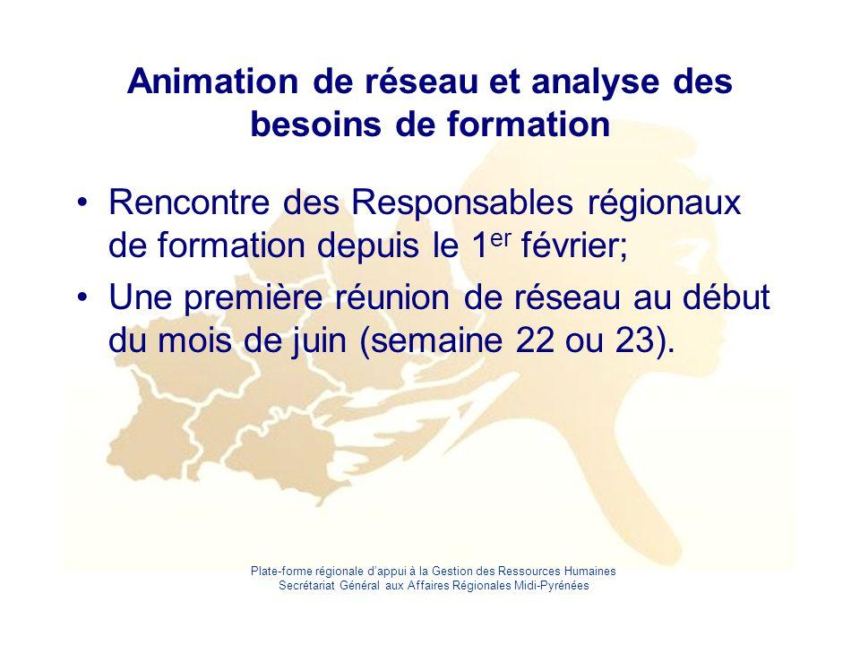 Plate-forme régionale d'appui à la Gestion des Ressources Humaines Secrétariat Général aux Affaires Régionales Midi-Pyrénées Animation de réseau et an