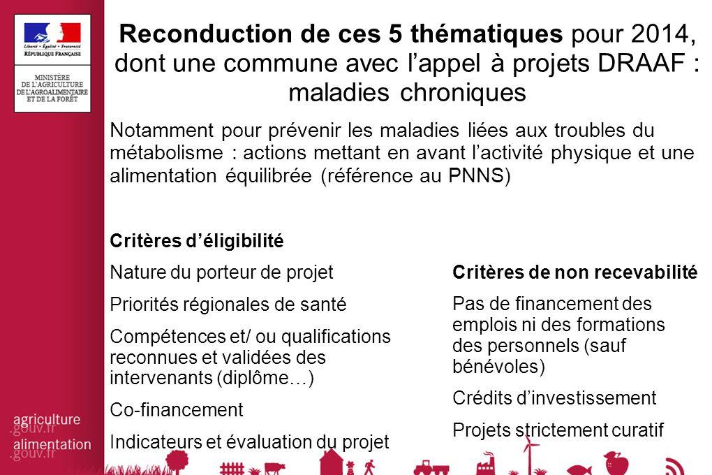 Reconduction de ces 5 thématiques pour 2014, dont une commune avec l'appel à projets DRAAF : maladies chroniques Notamment pour prévenir les maladies