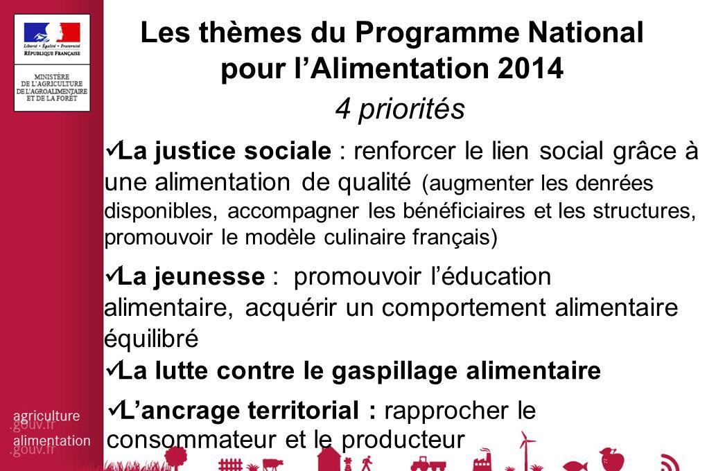 Les thèmes du Programme National pour l'Alimentation 2014 La justice sociale : renforcer le lien social grâce à une alimentation de qualité (augmenter