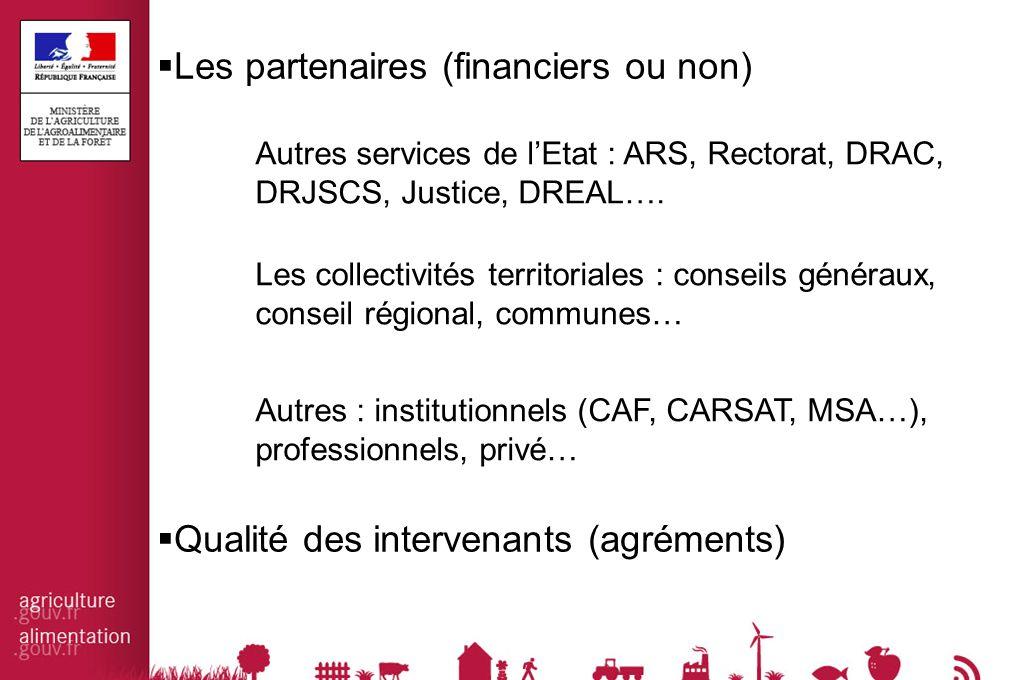  Les partenaires (financiers ou non) Autres services de l'Etat : ARS, Rectorat, DRAC, DRJSCS, Justice, DREAL….