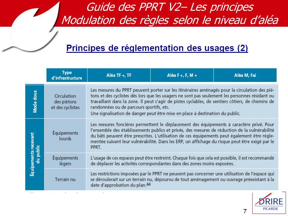 7 Guide des PPRT V2– Les principes Modulation des règles selon le niveau d'aléa Principes de réglementation des usages (2)