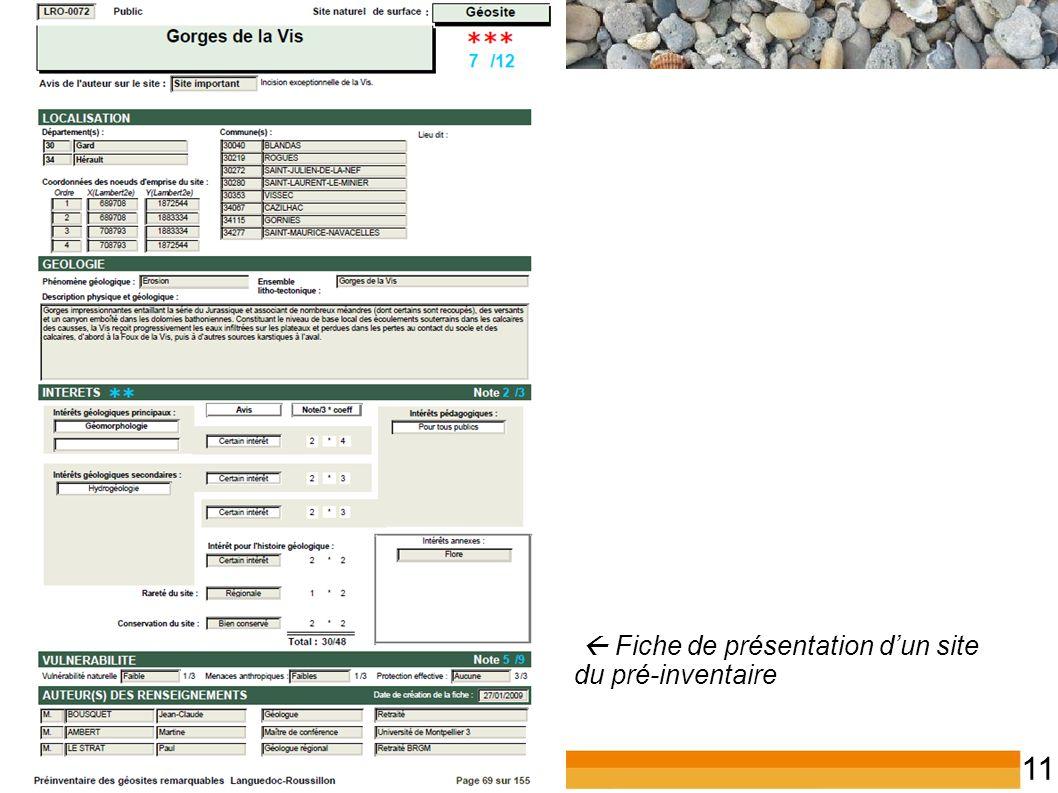 Inventaire du patrimoine géologique du LR 11  Fiche de présentation d'un site du pré-inventaire